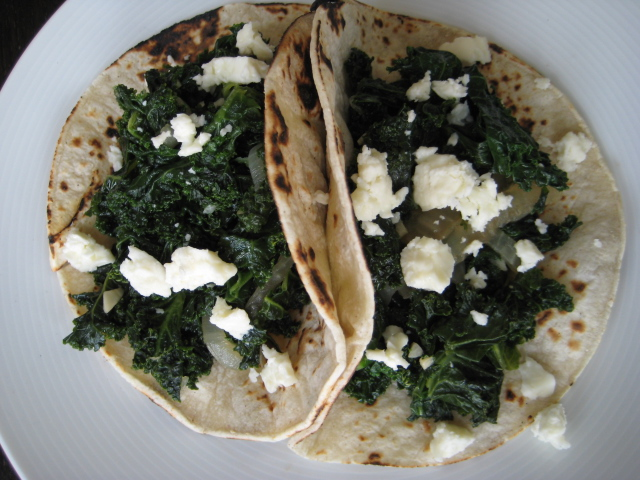 Kale and Feta Cheese in Corn Tortilla