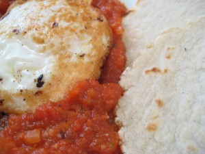Eggs in tomato sauce with corn tortillas