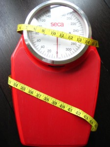 Measuring tape wrapped around scale