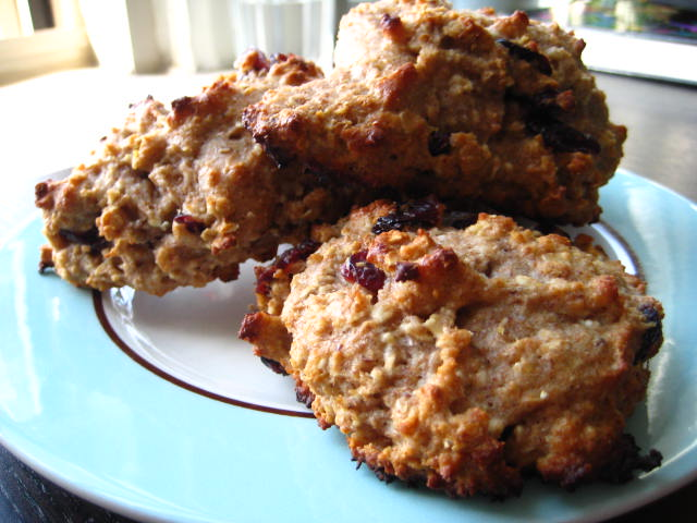Oatmeal, whole wheat & cranberry scones on a plate