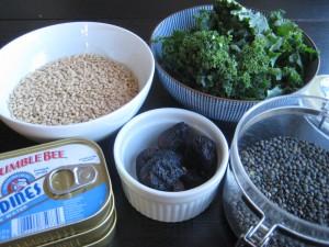 Barley, figs, sardines, kale, lentils