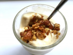 Banana Ice Cream with Roasted Almonds